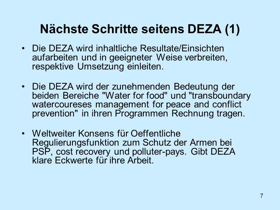 7 Nächste Schritte seitens DEZA (1) Die DEZA wird inhaltliche Resultate/Einsichten aufarbeiten und in geeigneter Weise verbreiten, respektive Umsetzung einleiten.