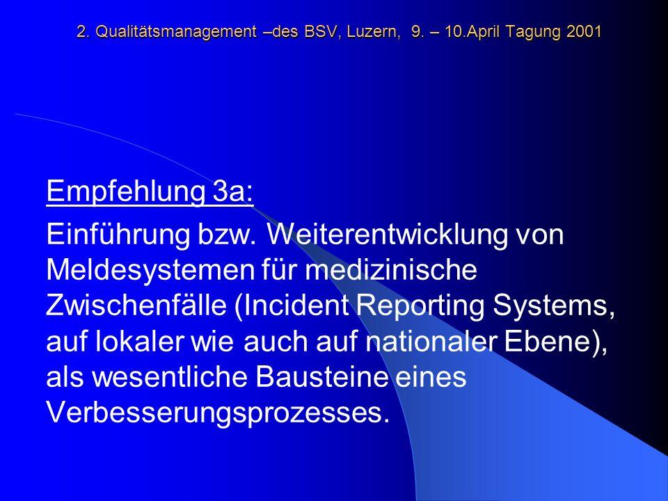 2. Qualitätsmanagement –des BSV, Luzern, 9. – 10.April Tagung 2001 Empfehlung 3a: Einführung bzw.