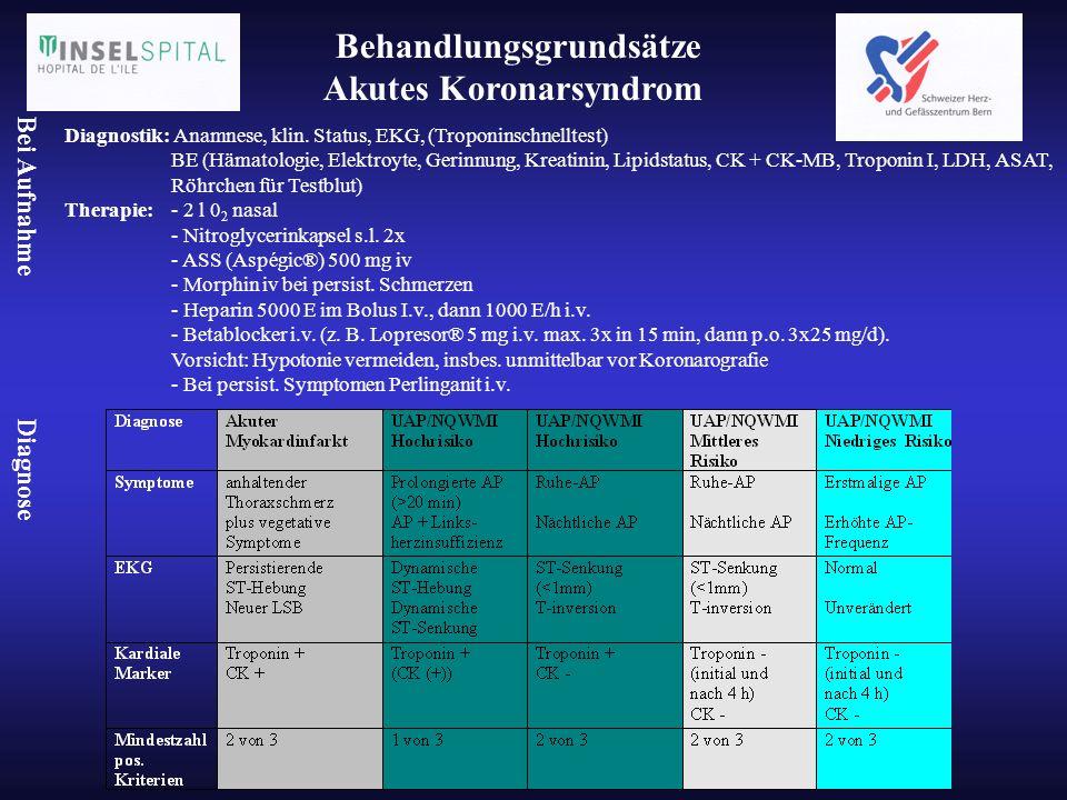 Behandlungsgrundsätze Akutes Koronarsyndrom Diagnostik: Anamnese, klin. Status, EKG, (Troponinschnelltest) BE (Hämatologie, Elektroyte, Gerinnung, Kre