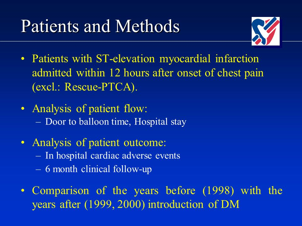 Patients and Methods Patients with ST-elevation myocardial infarction admitted within 12 hours after onset of chest pain (excl.: Rescue-PTCA).