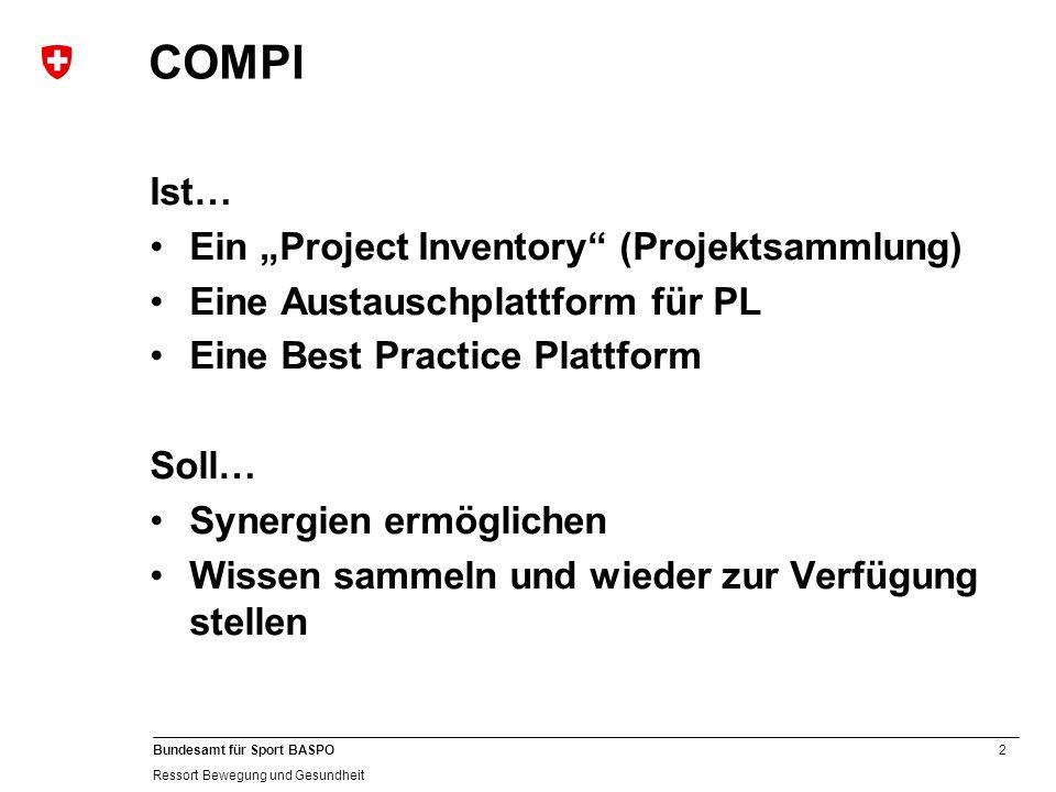 2 Bundesamt für Sport BASPO Ressort Bewegung und Gesundheit COMPI Ist… Ein Project Inventory (Projektsammlung) Eine Austauschplattform für PL Eine Bes