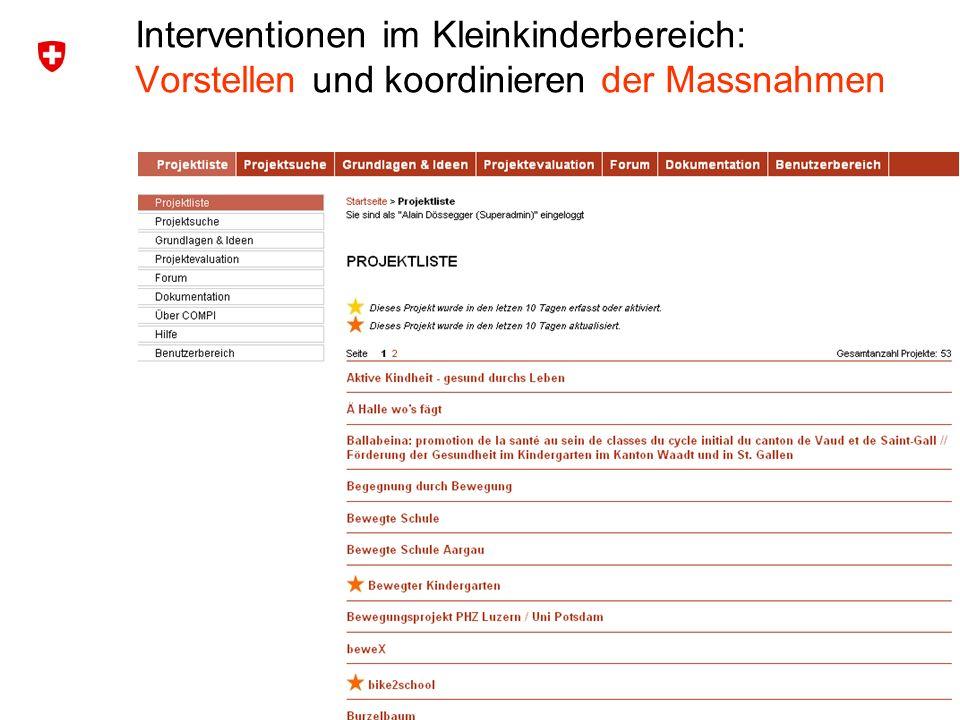 4 Bundesamt für Sport BASPO Ressort Bewegung und Gesundheit Interventionen im Kleinkinderbereich: Vorstellen und koordinieren der Massnahmen
