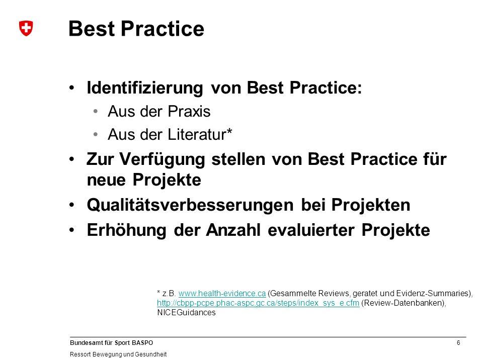 6 Bundesamt für Sport BASPO Ressort Bewegung und Gesundheit Best Practice Identifizierung von Best Practice: Aus der Praxis Aus der Literatur* Zur Ver
