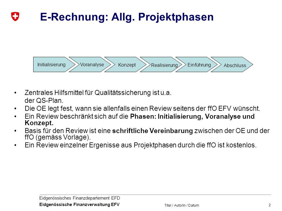 2 Eidgenössisches Finanzdepartement EFD Eidgenössische Finanzverwaltung EFV Titel / AutorIn / Datum E-Rechnung: Allg. Projektphasen Zentrales Hilfsmit