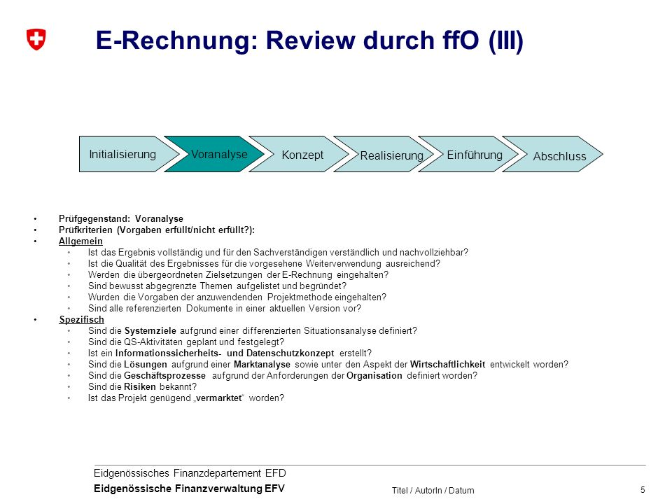 5 Eidgenössisches Finanzdepartement EFD Eidgenössische Finanzverwaltung EFV Titel / AutorIn / Datum E-Rechnung: Review durch ffO (III) Prüfgegenstand: Voranalyse Prüfkriterien (Vorgaben erfüllt/nicht erfüllt ): Allgemein Ist das Ergebnis vollständig und für den Sachverständigen verständlich und nachvollziehbar.