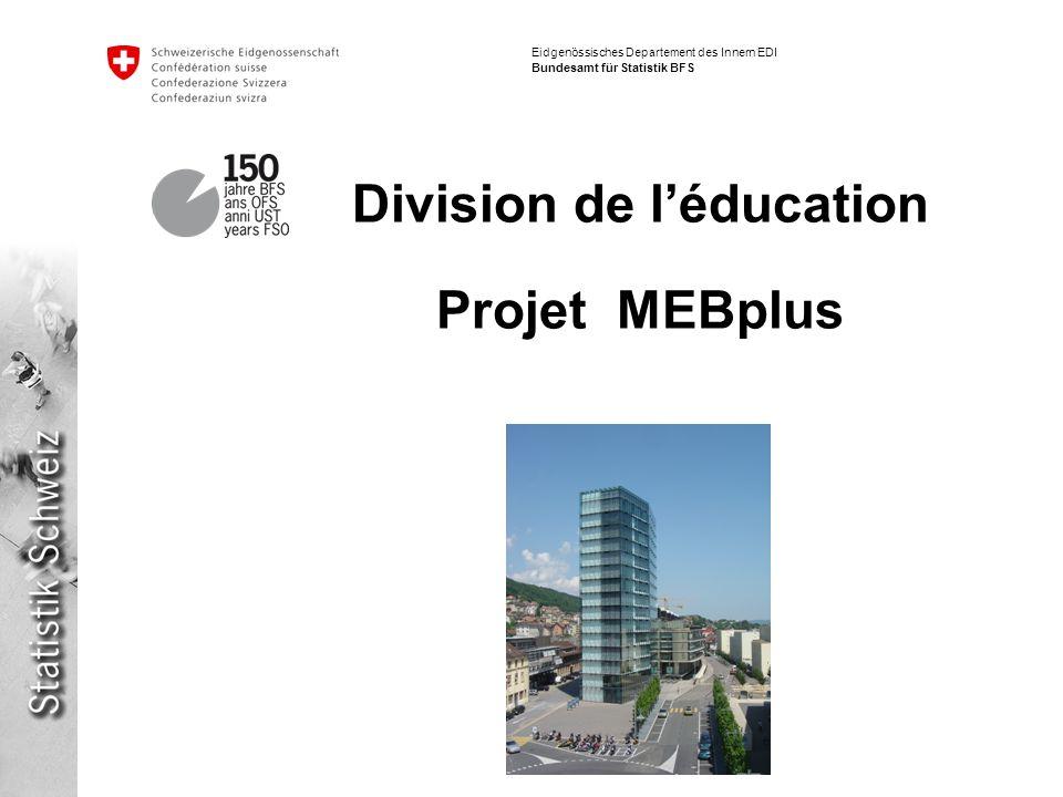 Eidgenössisches Departement des Innern EDI Bundesamt für Statistik BFS Division de léducation Projet MEBplus