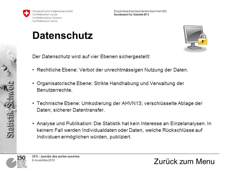OFS – journée des portes ouvertes 6 novembre 2010 Eidgenössisches Departement des Innern EDI Bundesamt für Statistik BFS Datenschutz Der Datenschutz wird auf vier Ebenen sichergestellt: Rechtliche Ebene: Verbot der unrechtmässigen Nutzung der Daten.