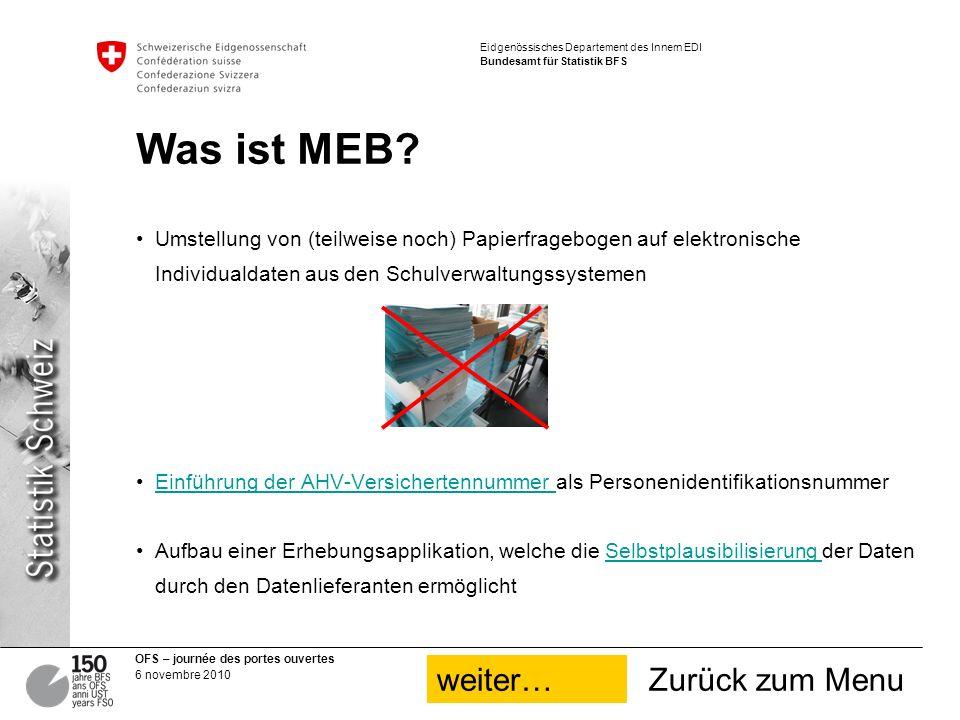 OFS – journée des portes ouvertes 6 novembre 2010 Eidgenössisches Departement des Innern EDI Bundesamt für Statistik BFS Was ist MEB.