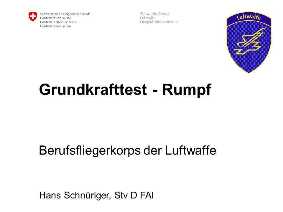 Schweizer Armee Luftwaffe Fliegerärztliches Institut Grundkrafttest - Rumpf Berufsfliegerkorps der Luftwaffe Hans Schnüriger, Stv D FAI