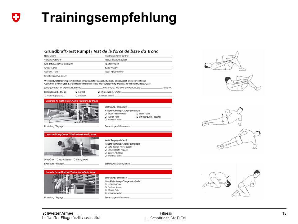 18 Schweizer Armee Luftwaffe - Fliegerärztliches Institut H. Schnüriger, Stv D FAI Fitness Trainingsempfehlung