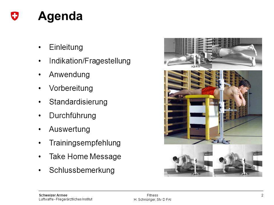 2 Schweizer Armee Luftwaffe - Fliegerärztliches Institut H. Schnüriger, Stv D FAI Fitness Einleitung Indikation/Fragestellung Anwendung Vorbereitung S