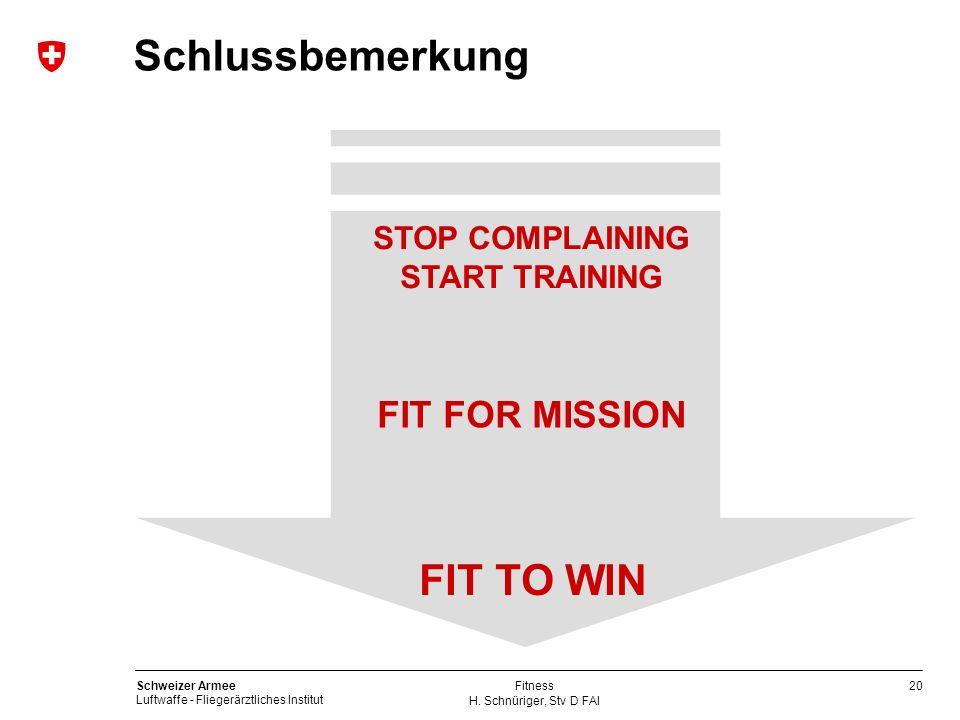 20 Schweizer Armee Luftwaffe - Fliegerärztliches Institut H. Schnüriger, Stv D FAI Fitness Schlussbemerkung FIT FOR MISSION FIT TO WIN STOP COMPLAININ