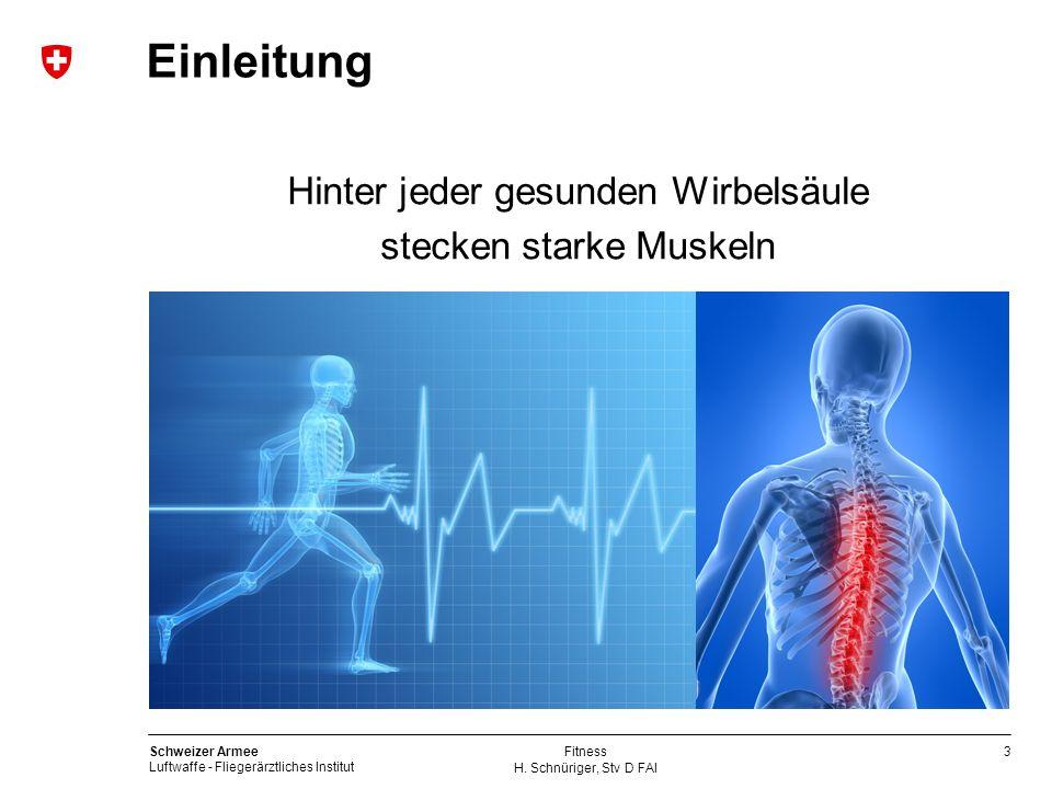 3 Schweizer Armee Luftwaffe - Fliegerärztliches Institut H. Schnüriger, Stv D FAI Fitness Einleitung Hinter jeder gesunden Wirbelsäule stecken starke