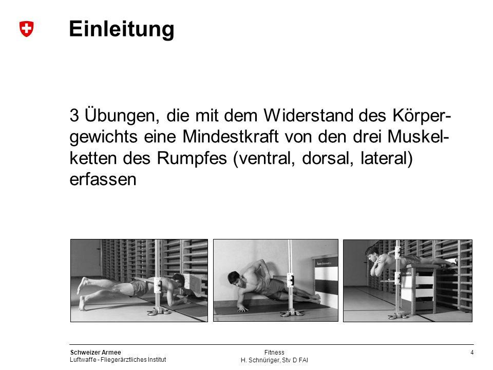 4 Schweizer Armee Luftwaffe - Fliegerärztliches Institut H. Schnüriger, Stv D FAI Fitness Einleitung 3 Übungen, die mit dem Widerstand des Körper- gew