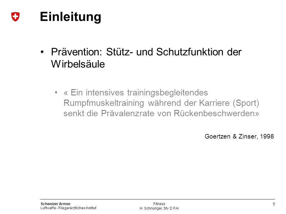 5 Schweizer Armee Luftwaffe - Fliegerärztliches Institut H. Schnüriger, Stv D FAI Fitness Einleitung Prävention: Stütz- und Schutzfunktion der Wirbels