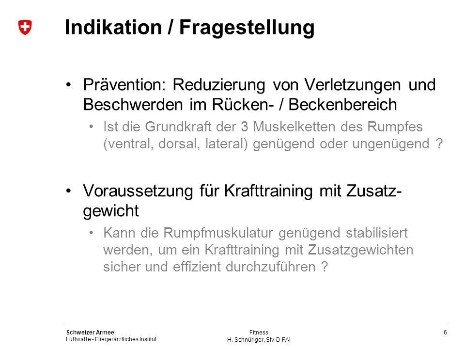 6 Schweizer Armee Luftwaffe - Fliegerärztliches Institut H. Schnüriger, Stv D FAI Fitness Indikation / Fragestellung Prävention: Reduzierung von Verle