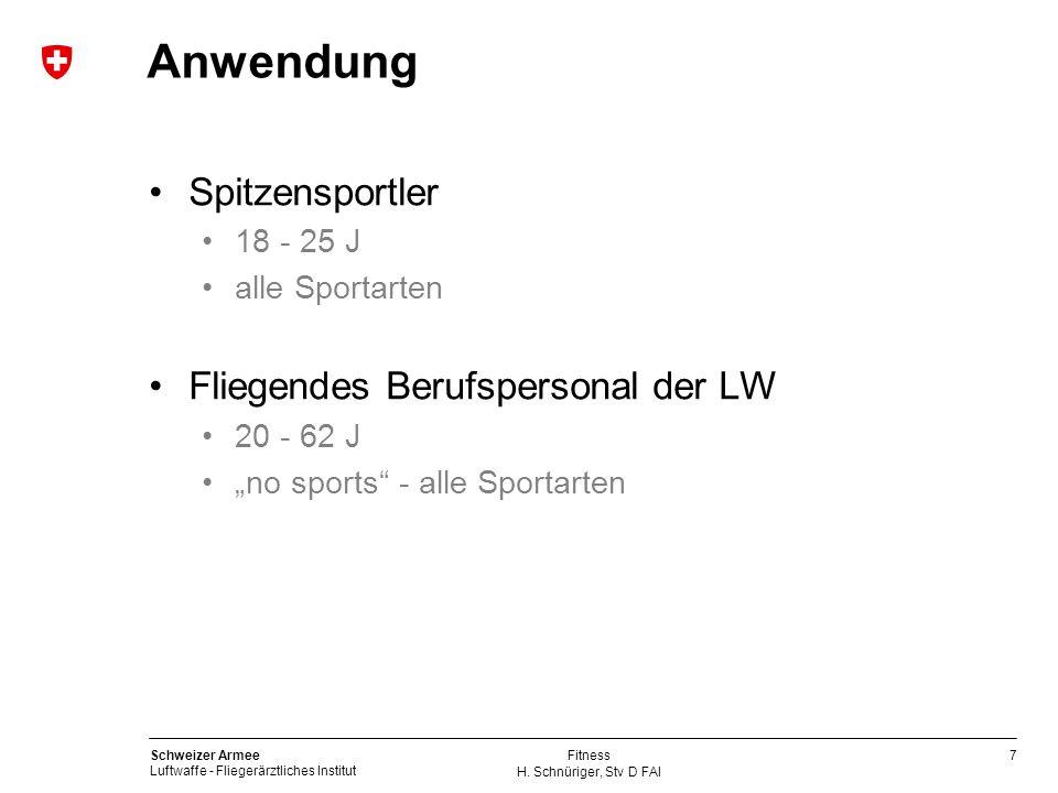 7 Schweizer Armee Luftwaffe - Fliegerärztliches Institut H. Schnüriger, Stv D FAI Fitness Anwendung Spitzensportler 18 - 25 J alle Sportarten Fliegend