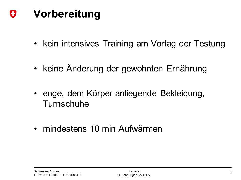8 Schweizer Armee Luftwaffe - Fliegerärztliches Institut H. Schnüriger, Stv D FAI Fitness Vorbereitung kein intensives Training am Vortag der Testung