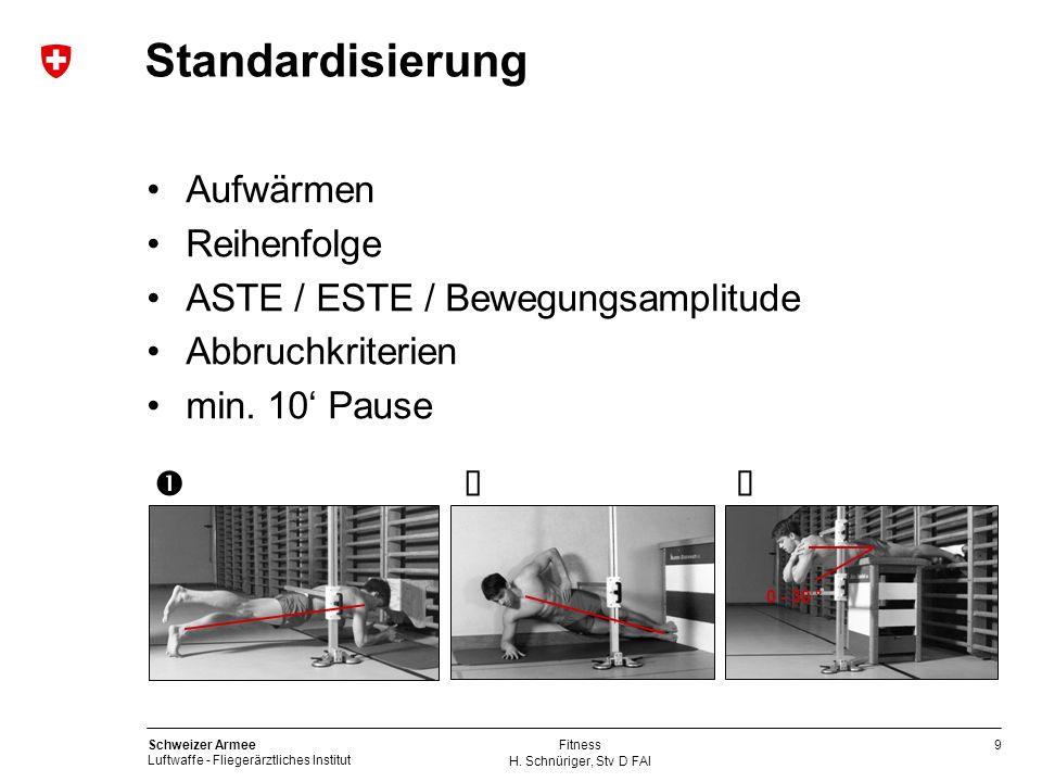 9 Schweizer Armee Luftwaffe - Fliegerärztliches Institut H. Schnüriger, Stv D FAI Fitness Standardisierung Aufwärmen Reihenfolge ASTE / ESTE / Bewegun