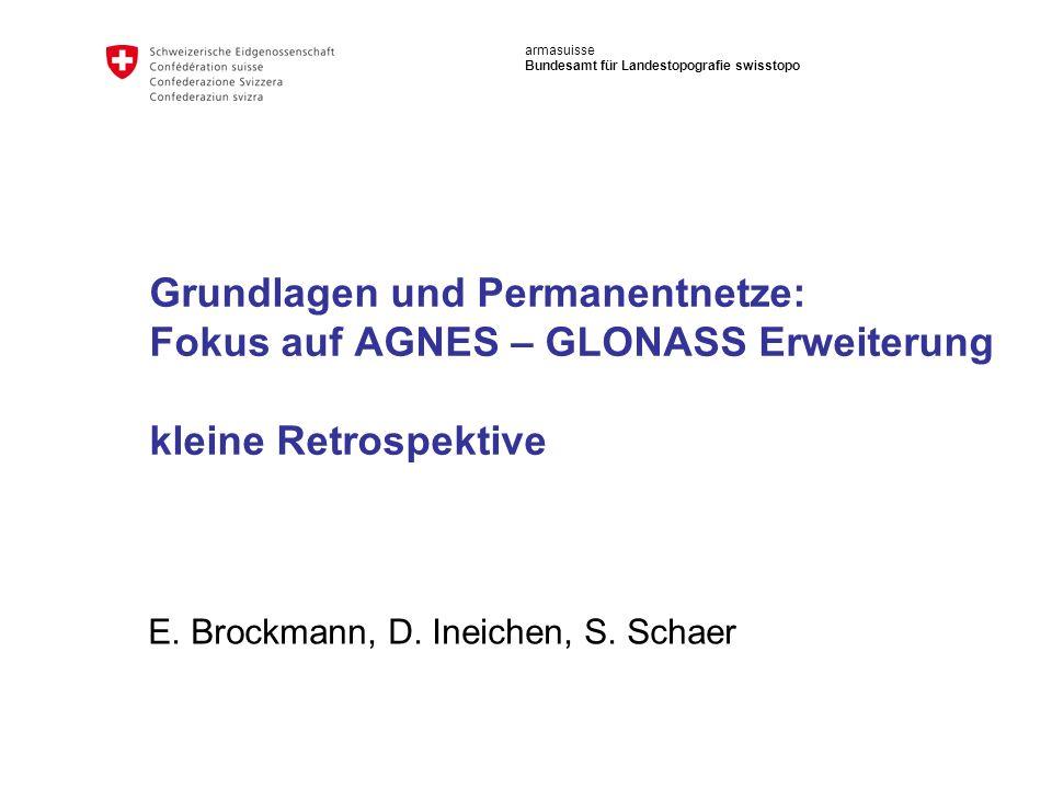 32 Bundesamt für Landestopografie swisstopo AGNES Erweiterung mit GLONASS Kinematische Lösungen: Einfluss von GNS auf die RMS Werte Verbesserung von allen Koordinatenkomponenten aller Stationen mit zusätzlichen GLONASS-Beobachtungen