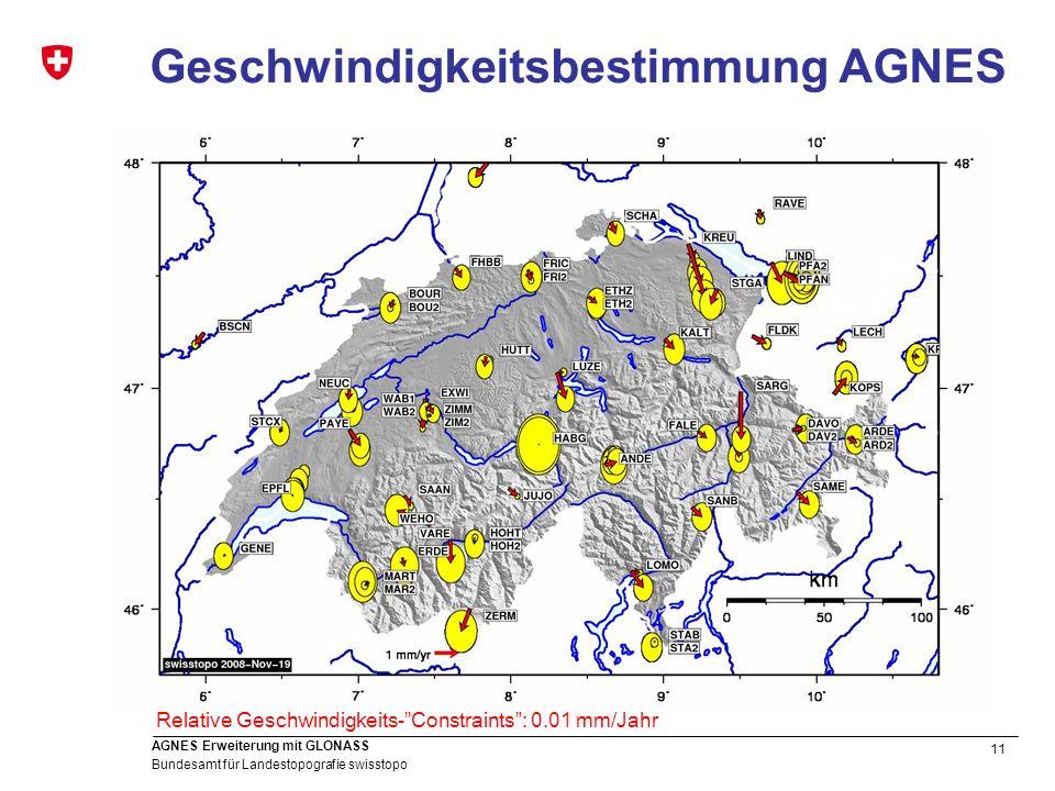 11 Bundesamt für Landestopografie swisstopo AGNES Erweiterung mit GLONASS Geschwindigkeitsbestimmung AGNES Relative Geschwindigkeits-Constraints: 0.01