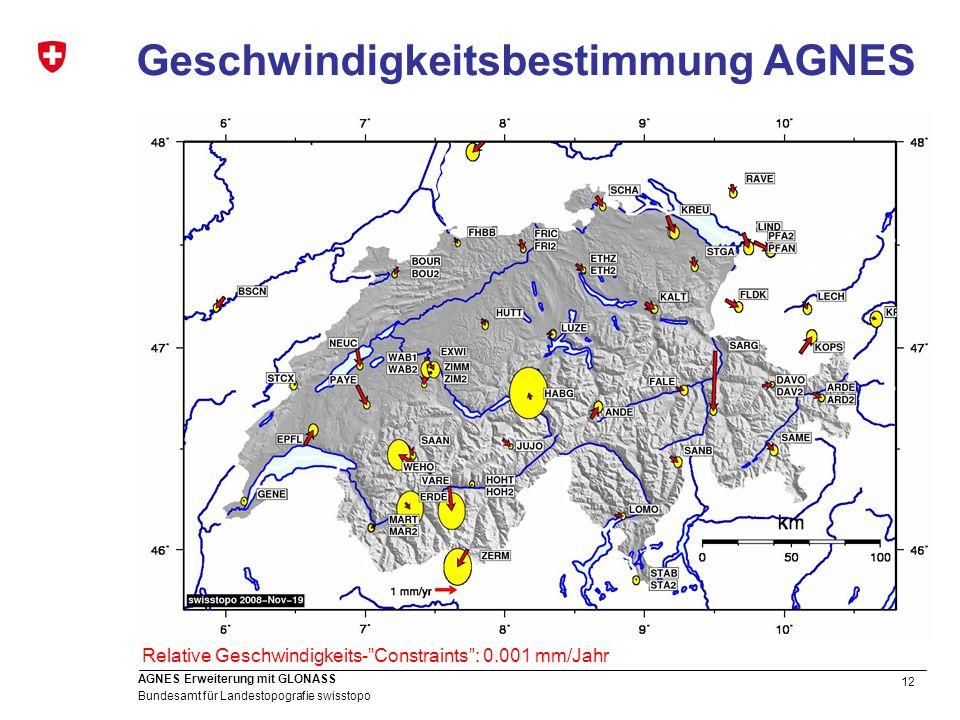 12 Bundesamt für Landestopografie swisstopo AGNES Erweiterung mit GLONASS Geschwindigkeitsbestimmung AGNES Relative Geschwindigkeits-Constraints: 0.00