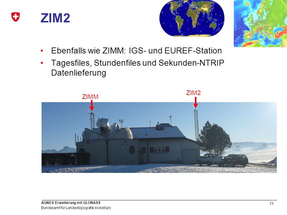 13 Bundesamt für Landestopografie swisstopo AGNES Erweiterung mit GLONASS ZIM2 Ebenfalls wie ZIMM: IGS- und EUREF-Station Tagesfiles, Stundenfiles und