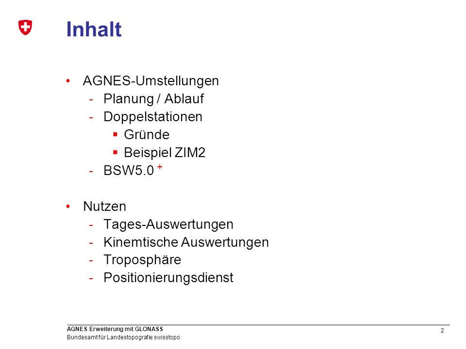 2 Bundesamt für Landestopografie swisstopo AGNES Erweiterung mit GLONASS Inhalt AGNES-Umstellungen -Planung / Ablauf -Doppelstationen Gründe Beispiel
