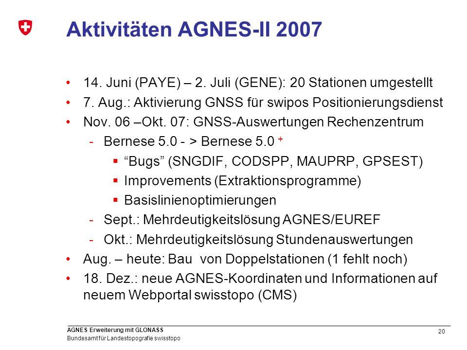 20 Bundesamt für Landestopografie swisstopo AGNES Erweiterung mit GLONASS Aktivitäten AGNES-II 2007 14. Juni (PAYE) – 2. Juli (GENE): 20 Stationen umg