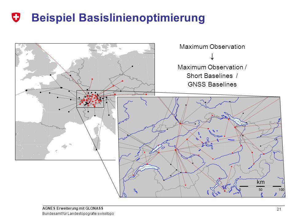 21 Bundesamt für Landestopografie swisstopo AGNES Erweiterung mit GLONASS Beispiel Basislinienoptimierung Maximum Observation Maximum Observation / Sh