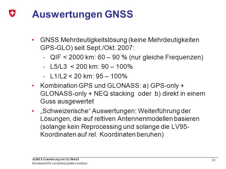 22 Bundesamt für Landestopografie swisstopo AGNES Erweiterung mit GLONASS Auswertungen GNSS GNSS Mehrdeutigkeitslösung (keine Mehrdeutigkeiten GPS-GLO