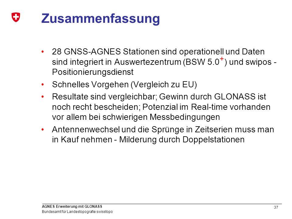 37 Bundesamt für Landestopografie swisstopo AGNES Erweiterung mit GLONASS Zusammenfassung 28 GNSS-AGNES Stationen sind operationell und Daten sind int