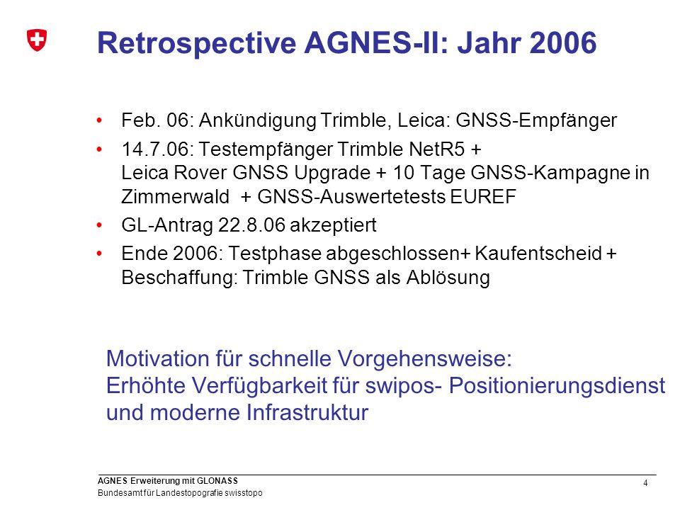 5 Bundesamt für Landestopografie swisstopo AGNES Erweiterung mit GLONASS Vorarbeiten zur Umstellung Absolute Antennenkalibrierung mit Roboter der Firma Geo++ 34 individuelle Antennen + IGS Werte ( ) Elev.-abhängige Phasenzentrumsvariationen GPS (individuell) + GLONASS (Gruppe) [mm] keine Ausreisserantenne