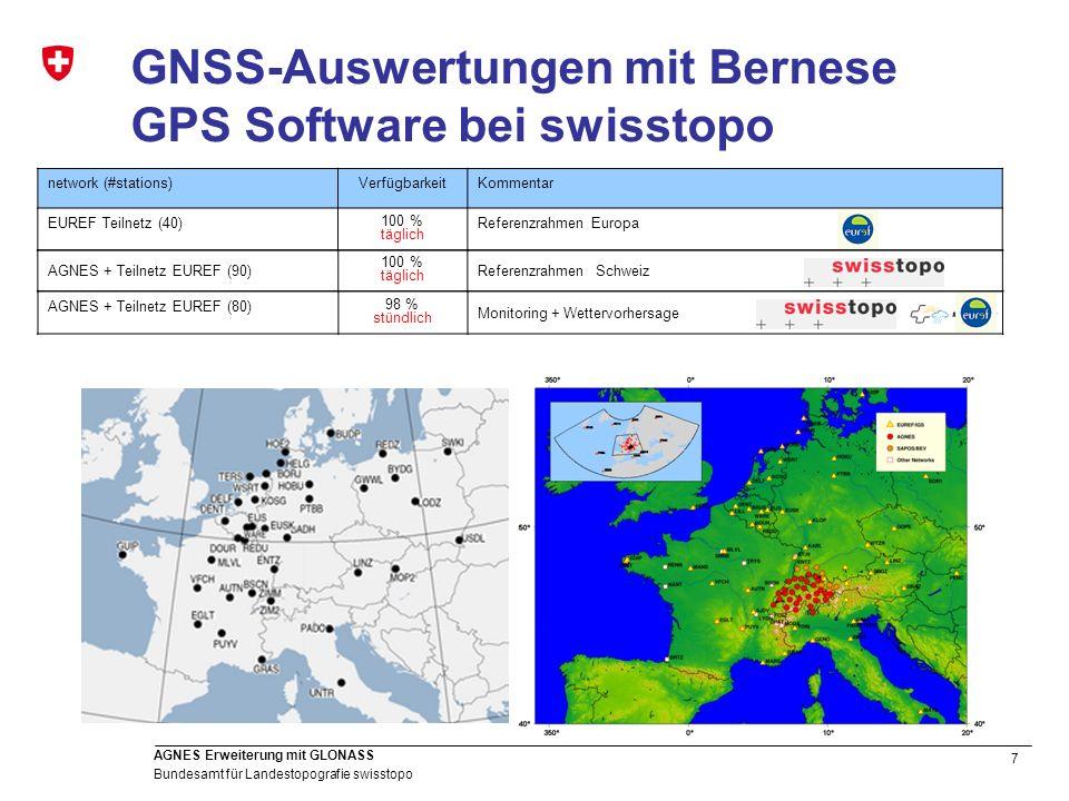 28 Bundesamt für Landestopografie swisstopo AGNES Erweiterung mit GLONASS Einfluss GLONASS auf Troposphären- Parameter GPS+GLONASS gegenüber GPS-only: nur minimaler Einfluss Ähnliches gilt auch für die Near-realtime Lösungen (8 Stunden Intervalle jede Stunde) bias: 0.06 mm std: 0.9 mm # comp: ~11000 h