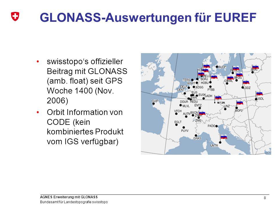 8 Bundesamt für Landestopografie swisstopo AGNES Erweiterung mit GLONASS GLONASS-Auswertungen für EUREF swisstopos offizieller Beitrag mit GLONASS (am
