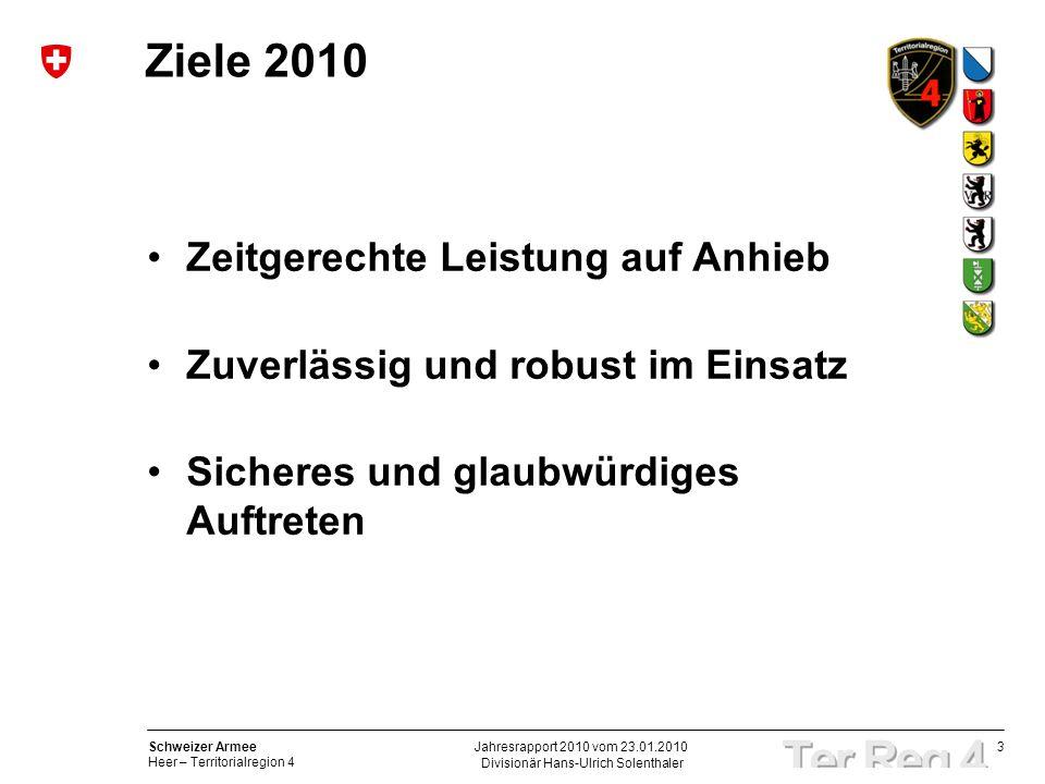 3 Schweizer Armee Heer – Territorialregion 4 Divisionär Hans-Ulrich Solenthaler Jahresrapport 2010 vom 23.01.2010 Ziele 2010 Zeitgerechte Leistung auf Anhieb Zuverlässig und robust im Einsatz Sicheres und glaubwürdiges Auftreten