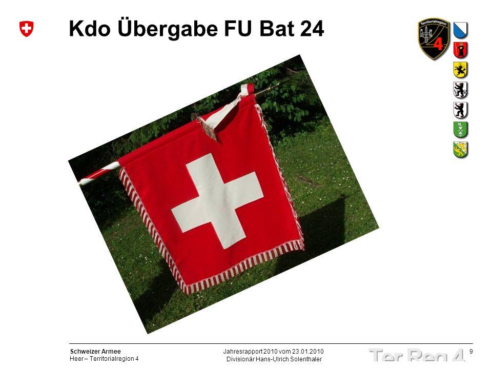 9 Schweizer Armee Heer – Territorialregion 4 Kdo Übergabe FU Bat 24 Divisionär Hans-Ulrich Solenthaler Jahresrapport 2010 vom 23.01.2010
