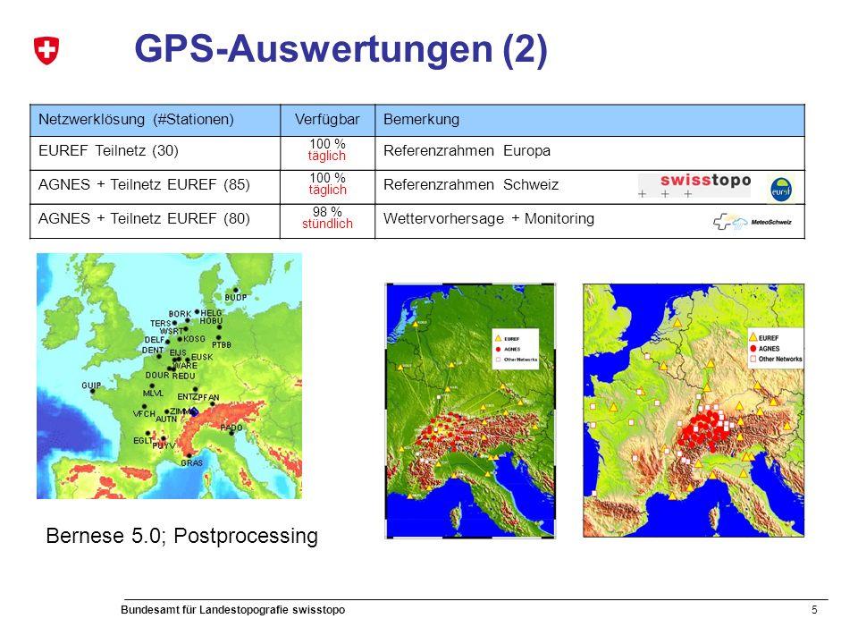 5 Bundesamt für Landestopografie swisstopo GPS-Auswertungen (2) Netzwerklösung (#Stationen)VerfügbarBemerkung EUREF Teilnetz (30) 100 % täglich Referenzrahmen Europa AGNES + Teilnetz EUREF (85) 100 % täglich Referenzrahmen Schweiz AGNES + Teilnetz EUREF (80) 98 % stündlich Wettervorhersage + Monitoring Bernese 5.0; Postprocessing