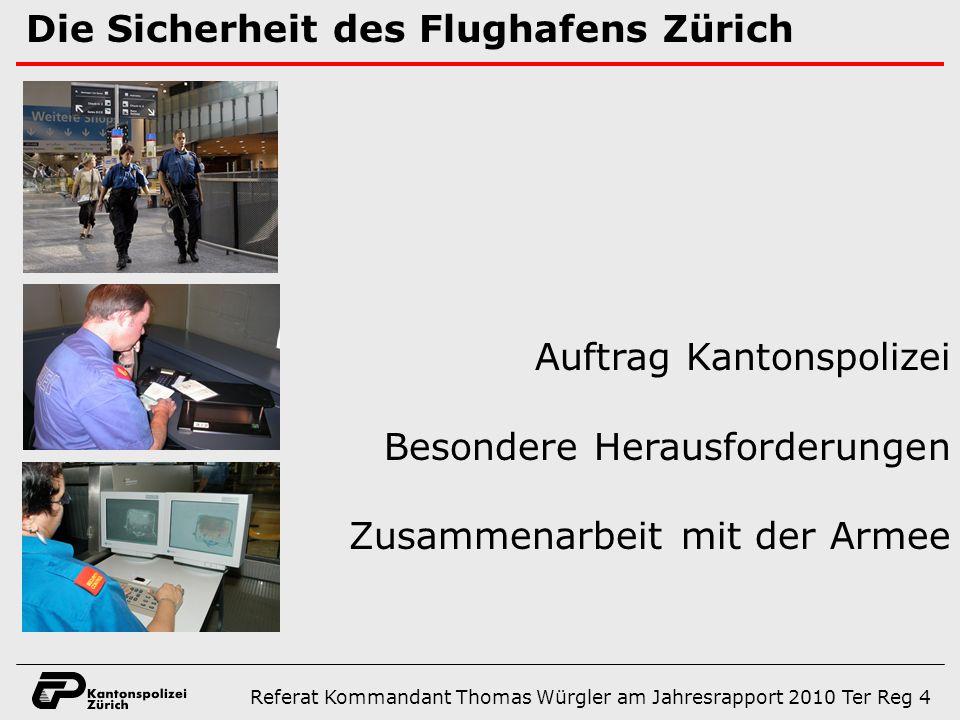Die Sicherheit des Flughafens Zürich Auftrag Kantonspolizei Besondere Herausforderungen Zusammenarbeit mit der Armee Referat Kommandant Thomas Würgler am Jahresrapport 2010 Ter Reg 4