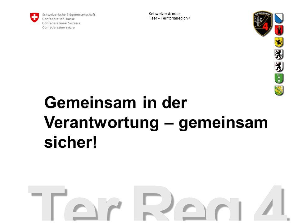 Schweizer Armee Heer – Territorialregion 4 Gemeinsam in der Verantwortung – gemeinsam sicher!