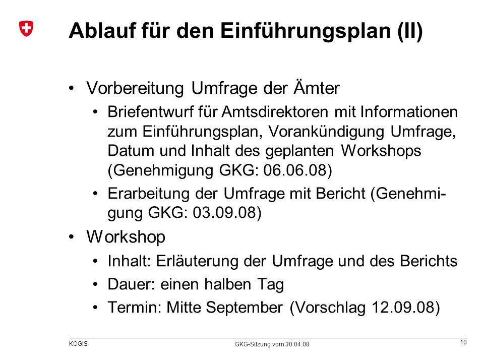 10 KOGIS GKG-Sitzung vom 30.04.08 Ablauf für den Einführungsplan (II) Vorbereitung Umfrage der Ämter Briefentwurf für Amtsdirektoren mit Informationen