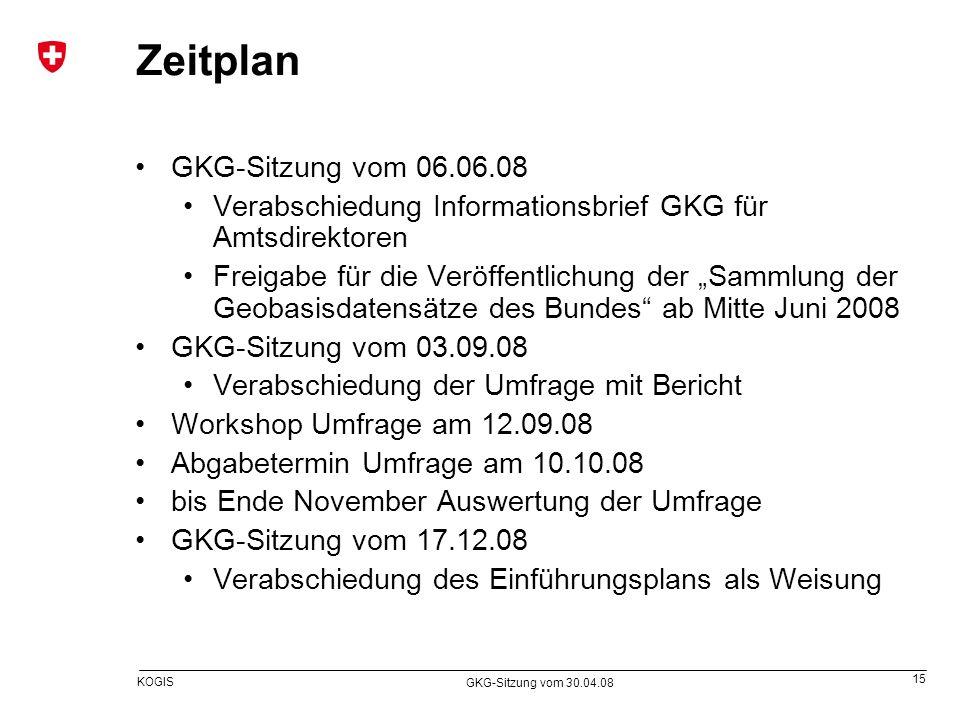 15 KOGIS GKG-Sitzung vom 30.04.08 Zeitplan GKG-Sitzung vom 06.06.08 Verabschiedung Informationsbrief GKG für Amtsdirektoren Freigabe für die Veröffent