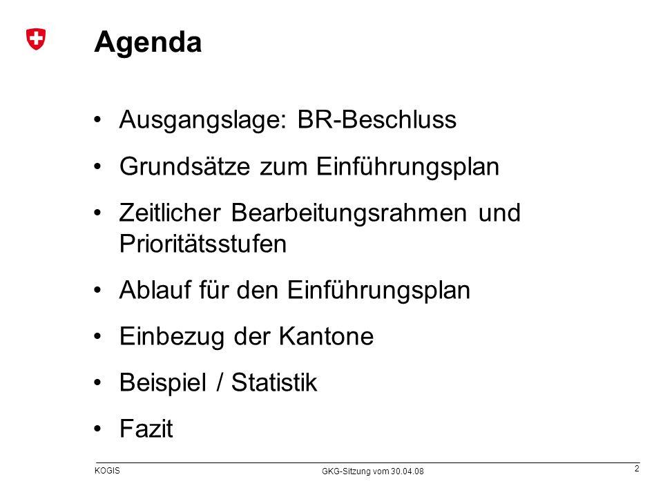 2 KOGIS GKG-Sitzung vom 30.04.08 Ausgangslage: BR-Beschluss Grundsätze zum Einführungsplan Zeitlicher Bearbeitungsrahmen und Prioritätsstufen Ablauf f