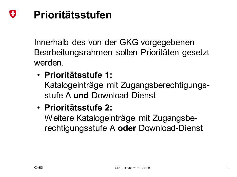 9 KOGIS GKG-Sitzung vom 30.04.08 Ablauf für den Einführungsplan (I) Veröffentlichung Sammlung der Geobasisdaten- sätze des Bundes (wie in der GKG-Sitzung vom 19.12.07 präsentiert) der Einführungsplan bezieht sich nicht auf die juristische, sondern auf die betrieblich/technische Sicht der physisch vorhandenen Datensätze ausgehend von der in der zweiten Ämterkonsul- tation (Oktober 2007) mitgelieferten Fassung aktualisiert gemäss neustem Stand des GBDK in Anhang 1 GeoIV