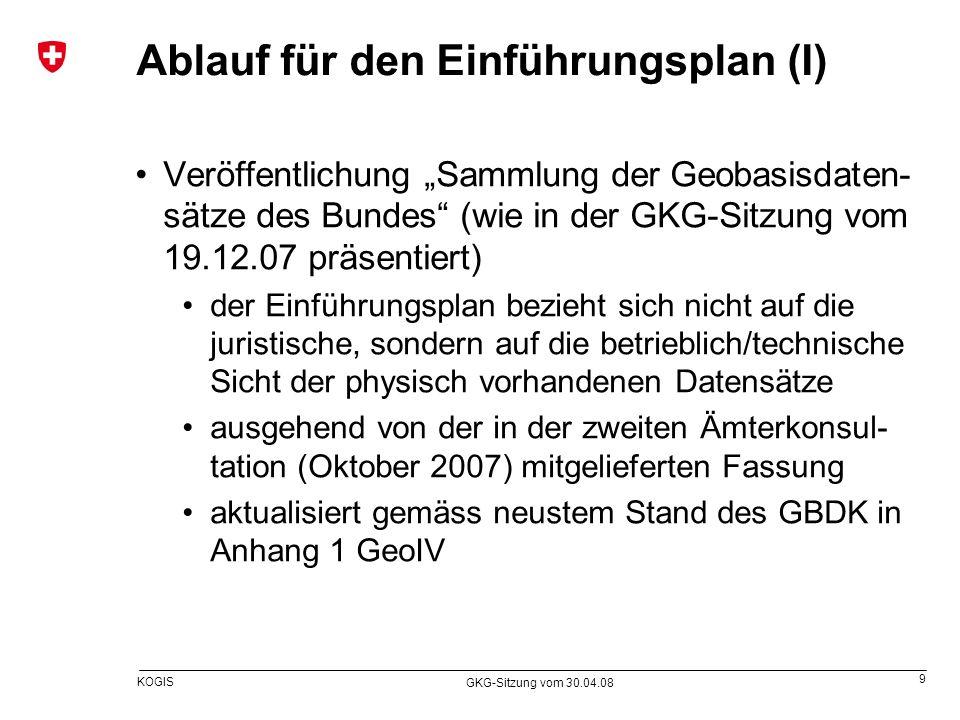 9 KOGIS GKG-Sitzung vom 30.04.08 Ablauf für den Einführungsplan (I) Veröffentlichung Sammlung der Geobasisdaten- sätze des Bundes (wie in der GKG-Sitz