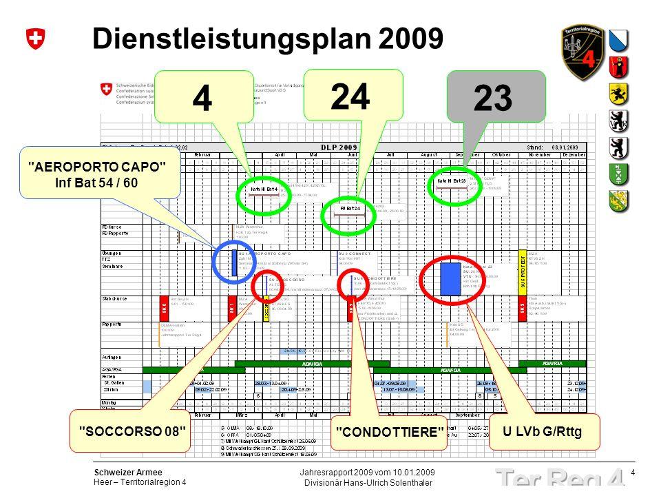 4 Schweizer Armee Heer – Territorialregion 4 Divisionär Hans-Ulrich Solenthaler Jahresrapport 2009 vom 10.01.2009 Dienstleistungsplan 2009 23 4 24 AEROPORTO CAPO Inf Bat 54 / 60 SOCCORSO 08 CONDOTTIERE U LVb G/Rttg