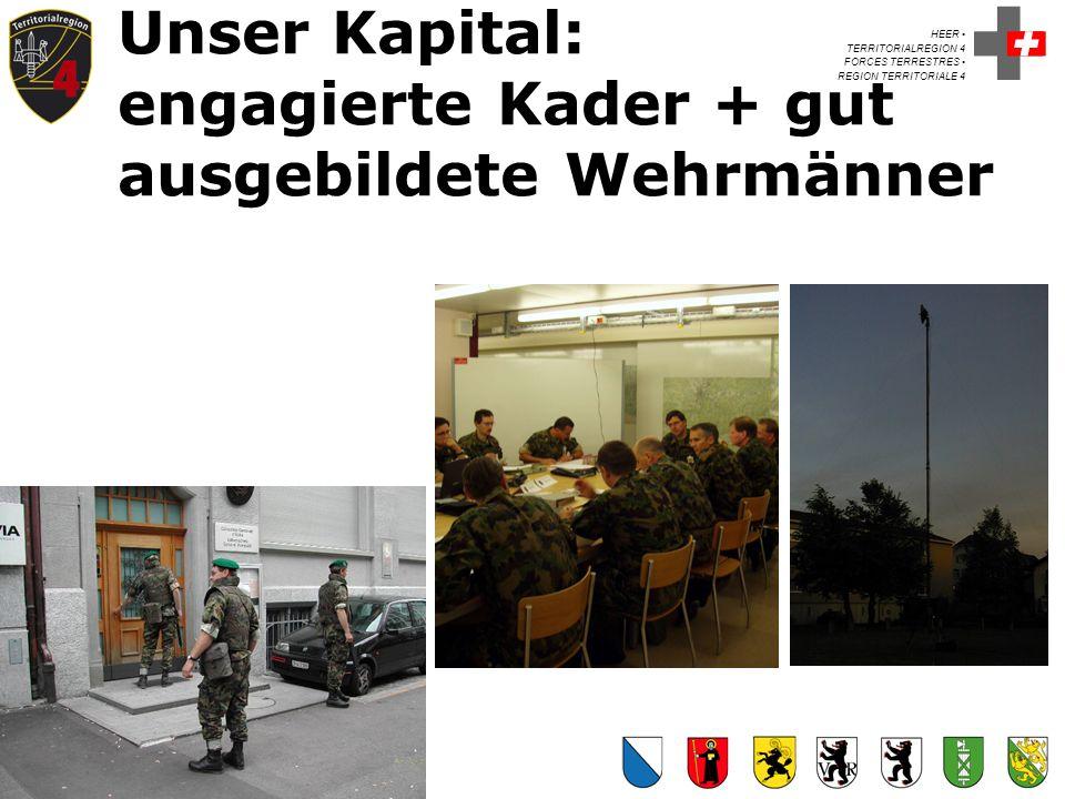 HEER TERRITORIALREGION 4 FORCES TERRESTRES REGION TERRITORIALE 4 Kdt Ter Reg 4 Unser Kapital: engagierte Kader + gut ausgebildete Wehrmänner