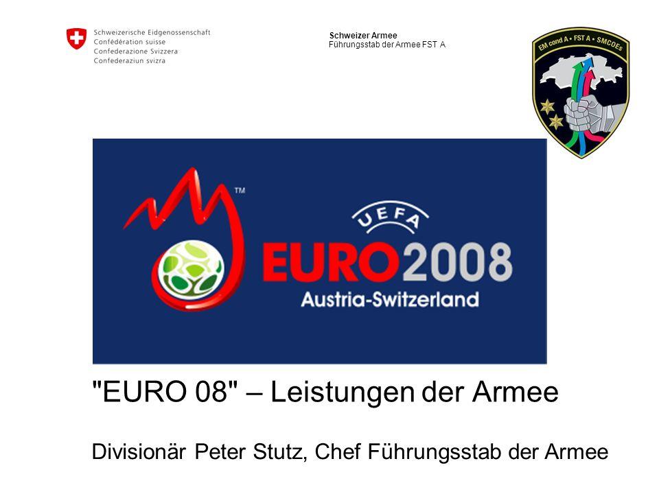 2 Schweizer Armee Chef Führungsstab der Armee Politischer Auftrag an die Armee Die Armee unterstützt die zivilen Behörden bei der Vorbereitung und Durchführung der UEFA EURO 2008 im Rahmen eines subsidiären Einsatzes.