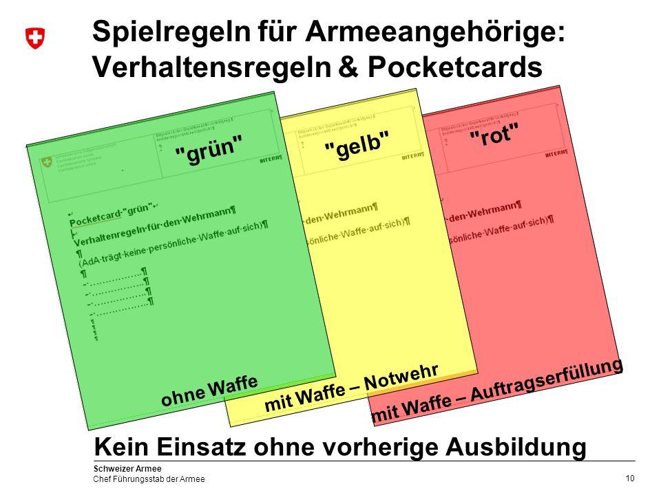 10 Schweizer Armee Chef Führungsstab der Armee rot mit Waffe – Auftragserfüllung Spielregeln für Armeeangehörige: Verhaltensregeln & Pocketcards gelb mit Waffe – Notwehr grün ohne Waffe Kein Einsatz ohne vorherige Ausbildung