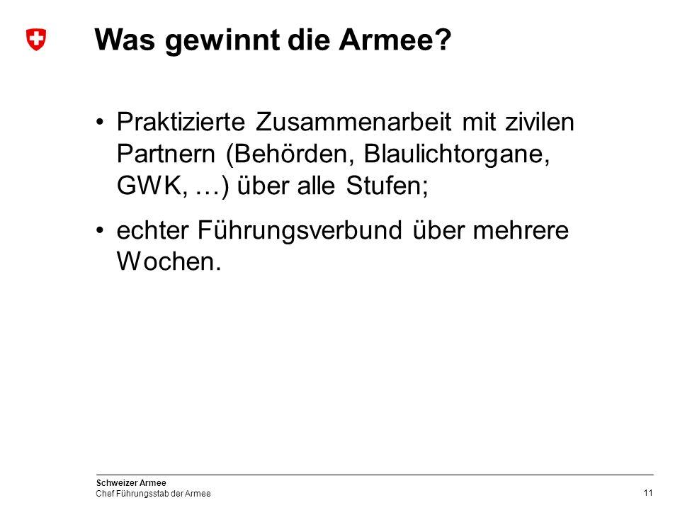 11 Schweizer Armee Chef Führungsstab der Armee Was gewinnt die Armee.